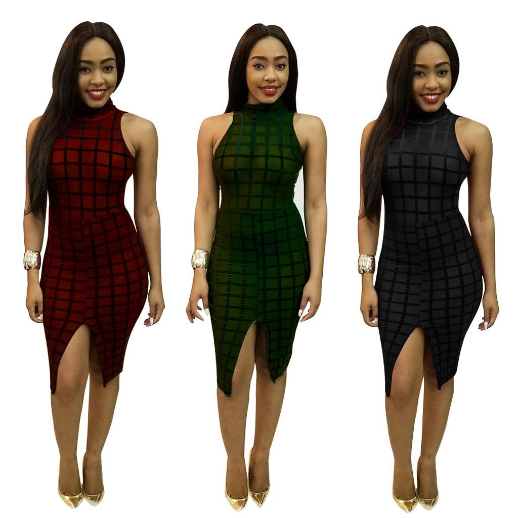 Women\'s Sleeveless See Through Mesh Bandage Bodycon Pencil Split Club Midi Dress