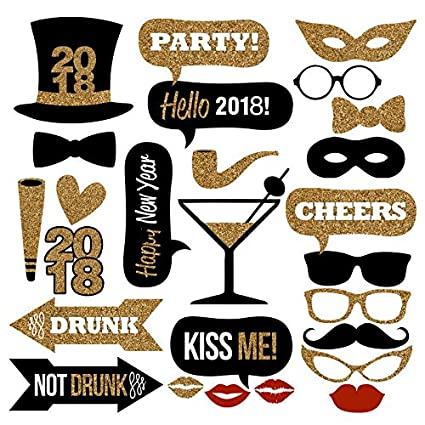 Amazon.com: 2018 New Years Photo Booth Props Kit(26Pcs), Funny ...