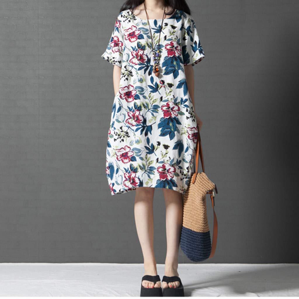 WEISUN Women Cotton Linen Dress Summer Casual Short Sleeve Dresses O-Neck Plus Size Print Dress with Pockets White by WEISUN (Image #2)
