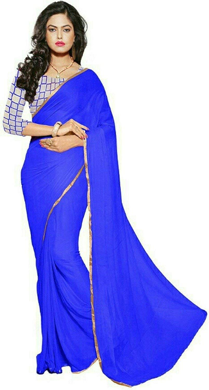 Buy Georgette Blue Saree With Golden Gota Border Plain Fashion Designer Sarees Jaipur With Plain Golden Blouse At Amazon In