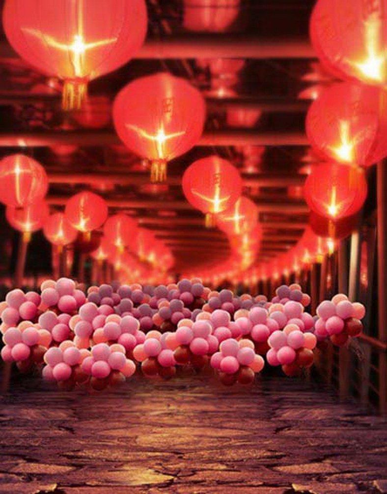 石床ピンクバルーンレッドランタン写真Backdrops写真小道具Studio背景5 x 7ft   B01GBFRTEW