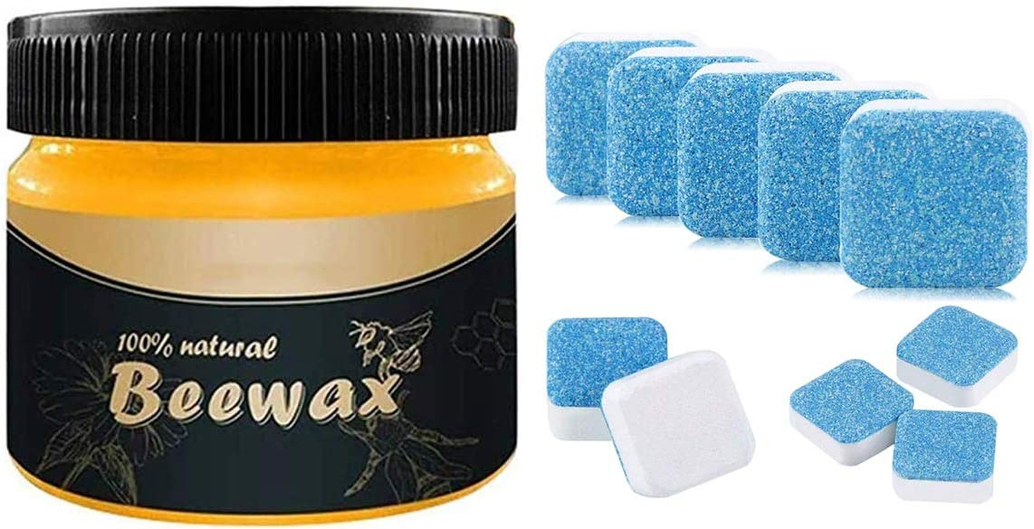 Beeswax Furniture Polish + 15pcs Solid Washing Machine Cleaner