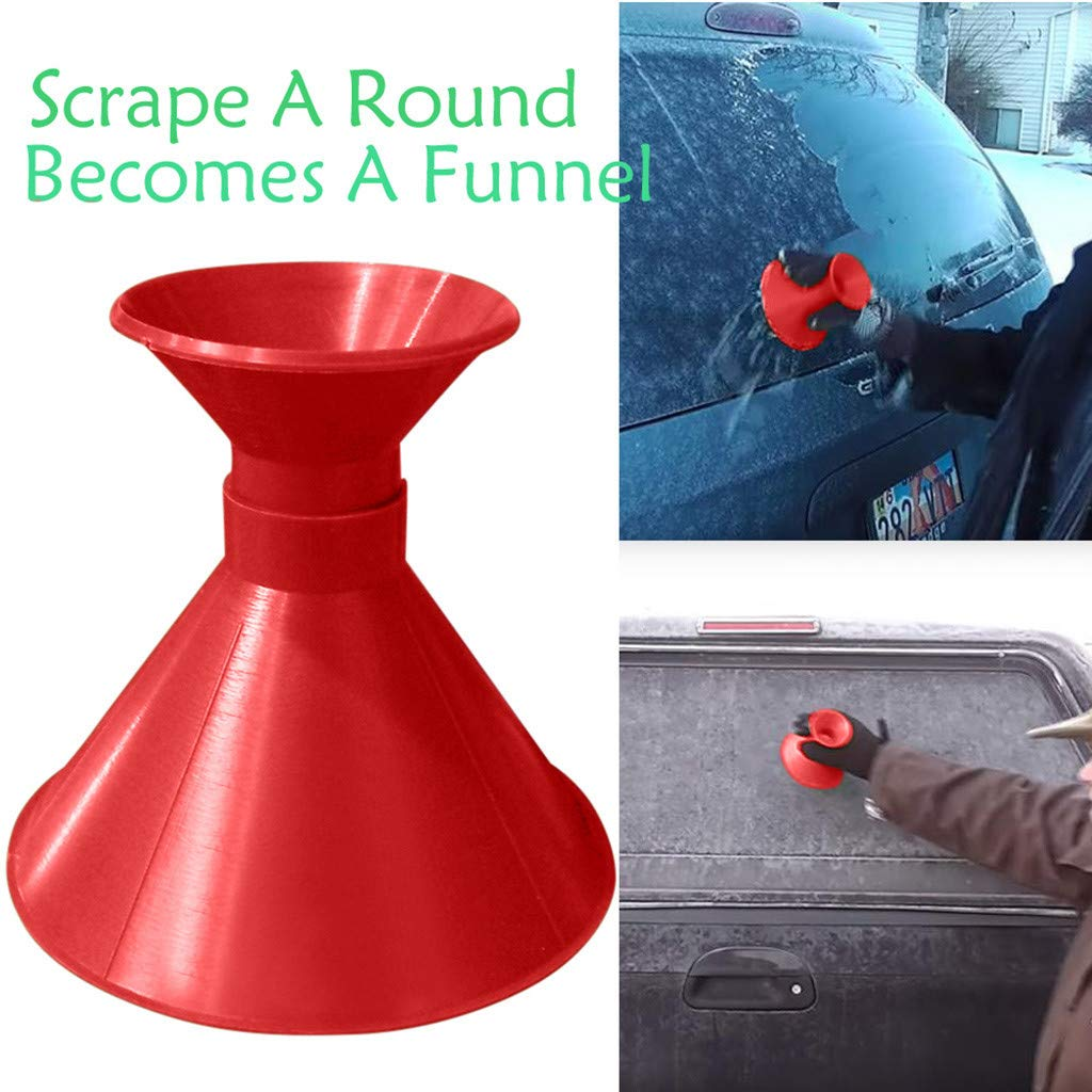 Windshield Ice Snow Scraper,Scrape A Round Magic Cone-Shaped Becomes A Funnel by PSFS (Blue)