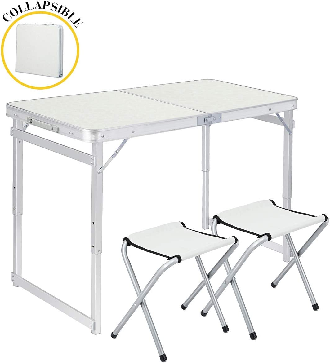 TOOCA Folding Table 4ft Aluminum Folding Camping Table Portable Picnic Table with 2 Chairs, Heights Adjustable Legs Collapsible Table for Indoor Outdoor, Picnic, Camping, Party and BBQ