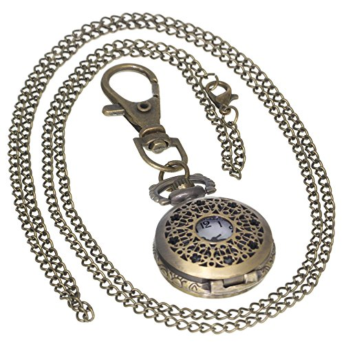 Plum Blossom Skeleton Watches Bronze Hollow Vintage Brass Antique Case Pocket Watch 1 PC Necklace 1 PC Key Clip Quartz Pendant Watch Fob Nurse Watch (Watch Brass Womens)