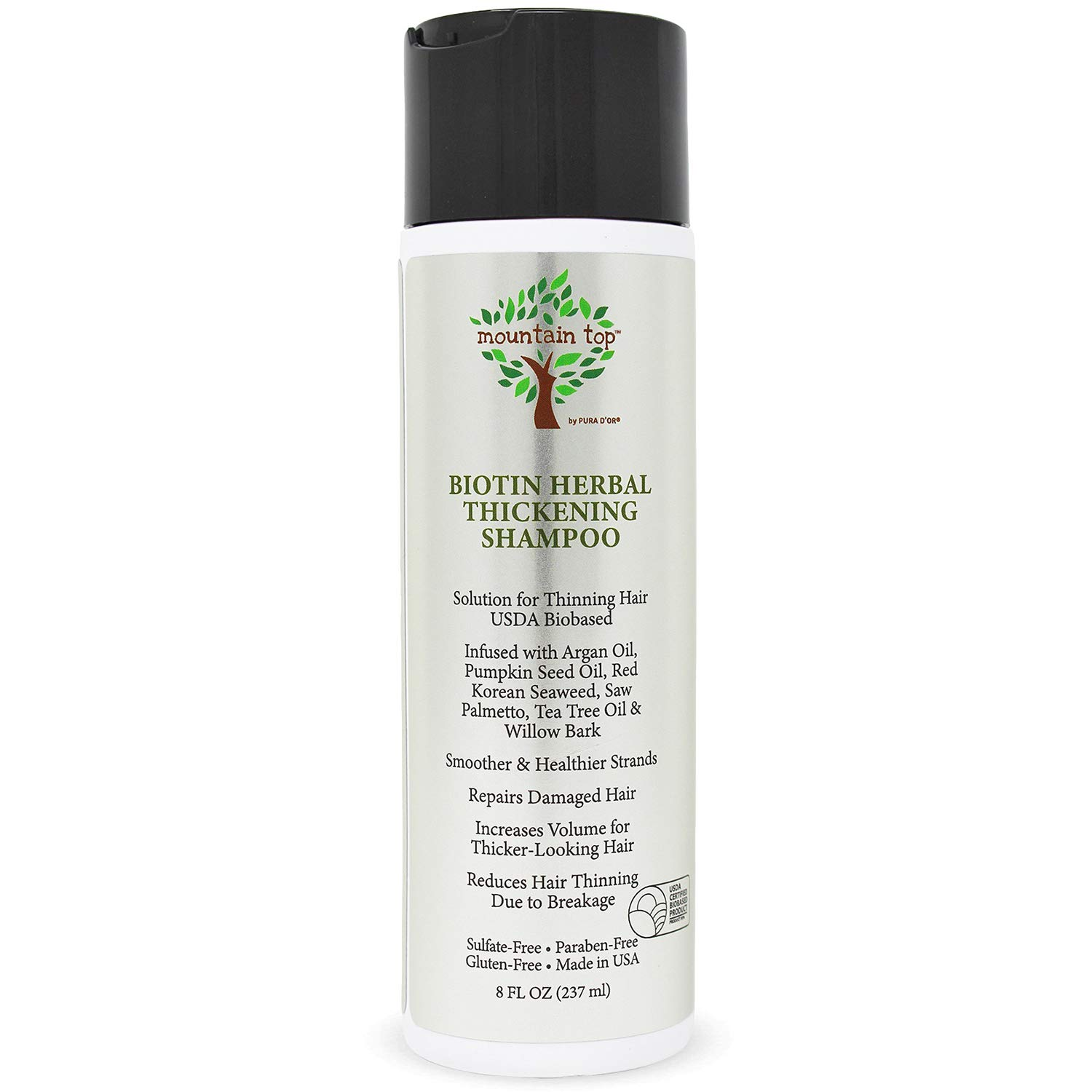 MOUNTAIN TOP Biotin Herbal Thickening Shampoo (8oz / 273ml) with Argan Oil, Pumpkin Seed Oil, Red Korean Seaweed, Saw Palmetto, Tea Tree Oil & Willow Bark, Sulfate Free, All Hair Types, Men and Women
