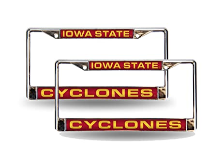 Amazon.com : Iowa State Cyclones Chrome Metal (2) Laser Cut License ...