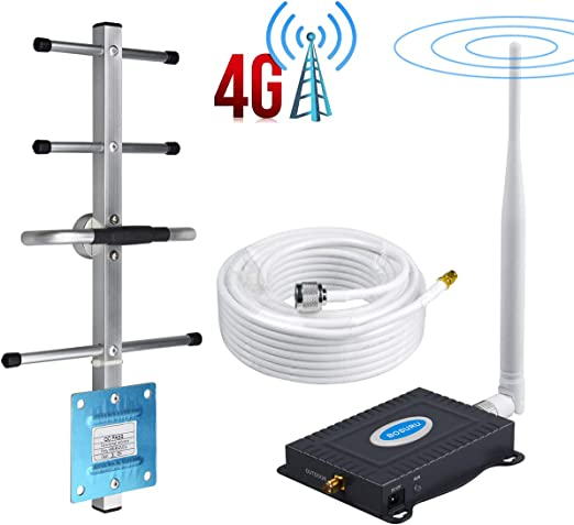 N-N Type Coaxial Cable Phonelex Cell Phone Signal Booster Verizon 4G LTE Band13 700Mhz Mobile Phone Signal Booster Verizon Cell Phone Signal Amplifier Repeater with