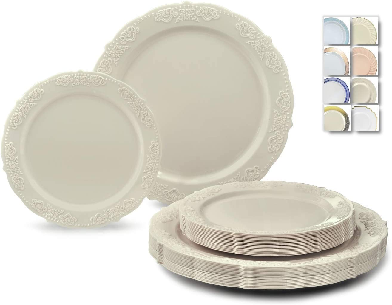 OCCASIONS 240 Plates Pack,(120 Guests) Vintage Wedding Party Disposable Plastic Plates Set -120 x 10.25'' Dinner + 120 x 7.5'' Salad/Dessert Plate (Portofino Ivory)