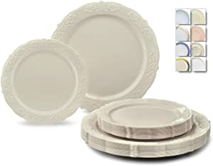 """"""" OCCASIONS """" 120 Plates Pack,(60 Guests) Vintage Wedding Party Disposable Plastic Plates Set -60 x 10.25'' Dinner + 60 x 7.5'' Salad / Dessert Plate (Portofino in plain Ivory)"""