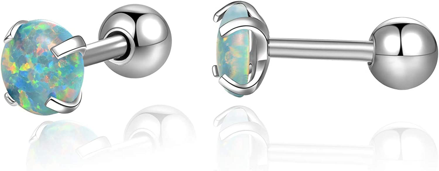 Cute Opal Cartilage Earrings Surgical Steel 16g Opal Tragus Ear Cartilage Piercing Barbell Studs Earrings Women Men