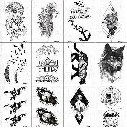 3D Mujeres Negro Tatuaje Temporal Cuerpo Brazo Arte Bosquejo ...