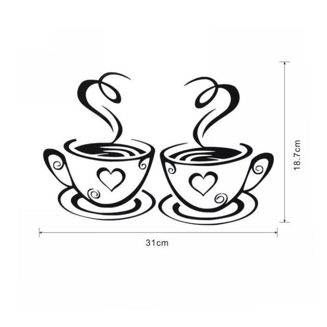 Tassen Kaffee Wandbilder Kunst Vinyl Aufkleber Küche Dekor: Amazon ...