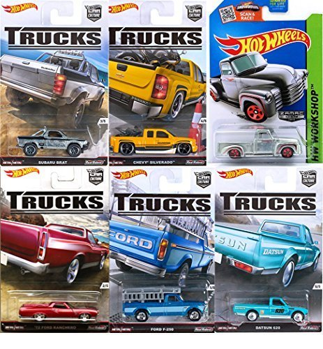 Hot Wheels Car Culture Trucks Special Series Real Riders Set 2016 & Zamac '52 Chevy Exclusive pickup '72 Ford Ranchero - Chevy Silverado - Suburu Brat - Datsun 620 - Ford F-250