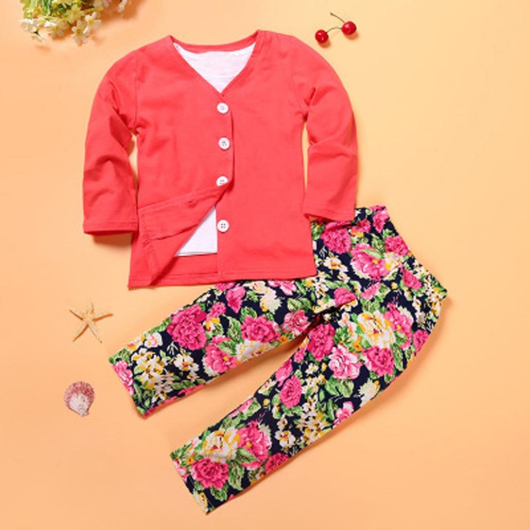 Tenworld 3pcs Set Baby Toddler Girl Long Sleeve T shirt Top+Coat+Pants Outfits