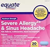 Equate Severe Allergy and Sinus Headache 20 Caplets Compare to Benadryl