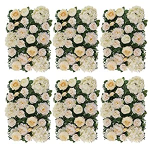 Prettyia Pack of 6 Simulation Silk Hydrangea Peony Rose Flower Wall Panel Wedding Venue Decor Champagne 109