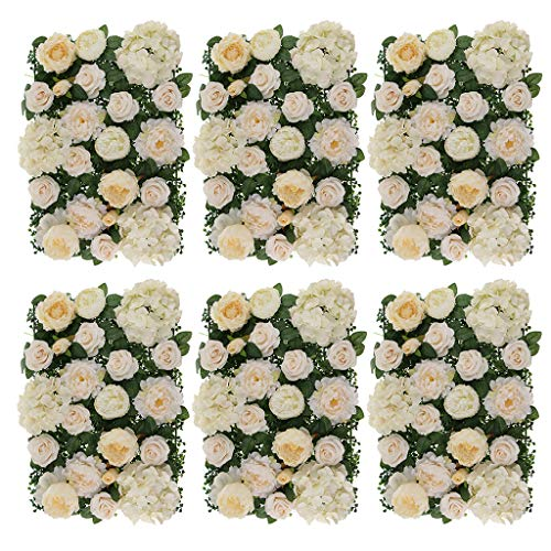 - Prettyia Pack of 6 Simulation Silk Hydrangea Peony Rose Flower Wall Panel Wedding Venue Decor Champagne