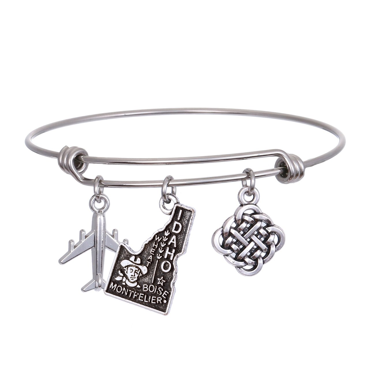JJTZX State Bangle U.S. Map Charm Expandable Travel Bracelet Long Distance Relationship Gift Best Friends Bracelet (Idaho)