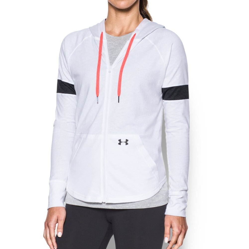 Under Armour Women's Sportstyle Full Zip Hoodie, White (100)/Black, Small by Under Armour