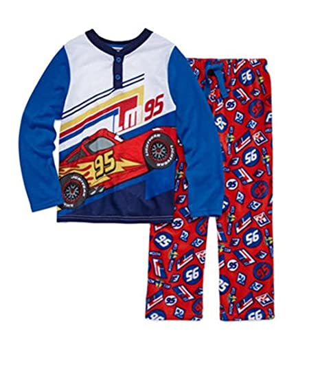 Disney Pixar Cars Size 3 Lightning McQueen Jersey and Fleece Pajama Set cda41a2e2