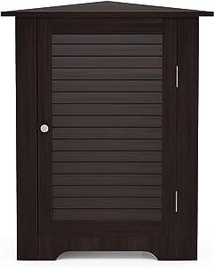 Furinno Indo Corner Louver Door Cabinet, Espresso