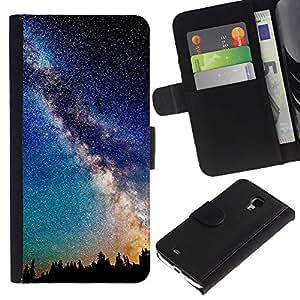 """Samsung Galaxy S4 Mini i9190 / i9195 (Not For Galaxy S4) , la tarjeta de Crédito Slots PU Funda de cuero Monedero caso cubierta de piel ("""" Mily Way Galaxy Stars Night Sky Romance"""")"""
