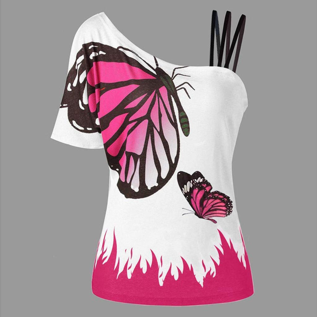 Funnygals Womens Casual Short Sleeve Cold Shoulder Tunic Tops Strappy T-Shirts Butterflt Print Loose Blouses T-Shirts