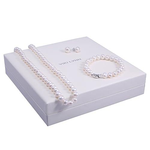 VIKI LYNN Perla Collar De Perlas Cadena con Perlas de Cultivo de Agua Dulce