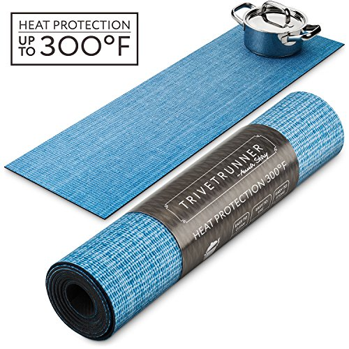 TRIVETRUNNER Decorative Trivet and Kitchen Table Runners Handles Heat Up to 300F, Anti Slip for Hot Dishes and Pots, Protect Furniture Countertops,Dressers and Island Protector (Blue Sky (blank))