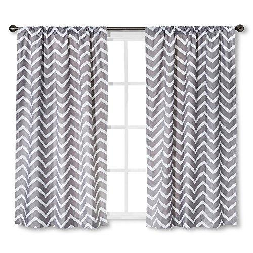 Circo Grey Chevron Light Blocking Window Curtain Panels (2, 63″X42″)