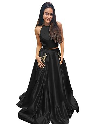 Amazon.com: Harsuccting Two Piece Halter Keyhole Back Satin Prom ...