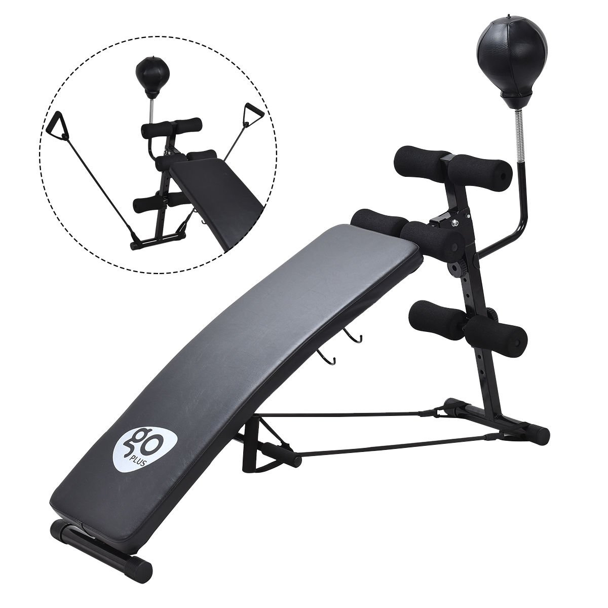 Goplus Adjustable Incline Weight Bench Curved Sit Up Bench Board W/ Speed Ball and Pull Ropes
