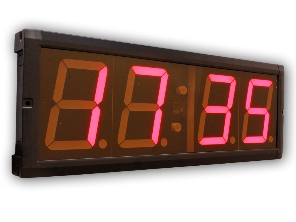 EU 4'' LED Countdown&CountUP stopwatch and Clock Red Color Hours Minutes IR Remote Control Aluminum Casese by EU DISPLAY