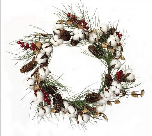 ZQZSDT Corona de Navidad, Simulación Corona de algodón Pino de ...