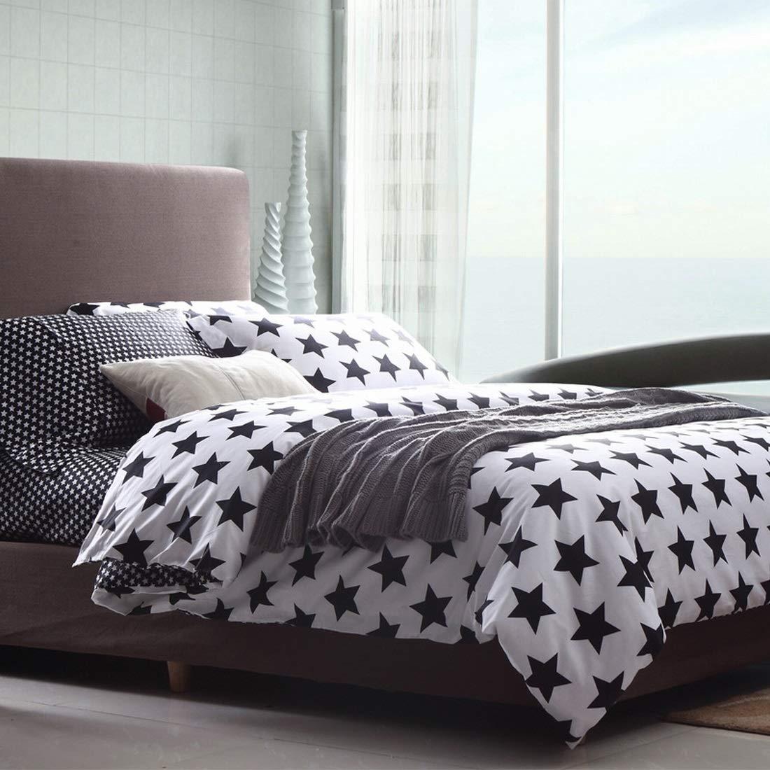 Koloeplf シンプルなコットン3D反応性プリントピュアコットン寝具4セット (PATTERN : Black White Gum-1, Size : QUEEN) B07NZNGRK2  Queen