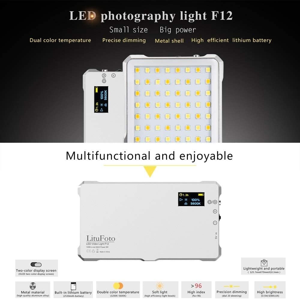 Color : White White F12 Pocket 112 LEDs 1080LUX Professional Vlogging Photography Video /& Photo Studio Light with OLED Display for Canon//Nikon DSLR Cameras Durable