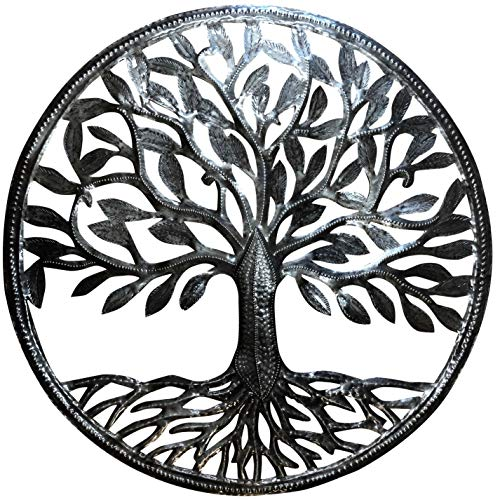 Old Duga - Haitian Metal Drum Art - 24 inch Organic Tree of Life - Natural