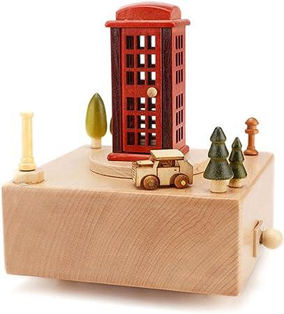 caja de música de madera cabina de teléfono figurita de cuerda caja musical caja del día de san valentín cumpleaños de navidad regalo de boda decoración del hogar: Amazon.es: Hogar