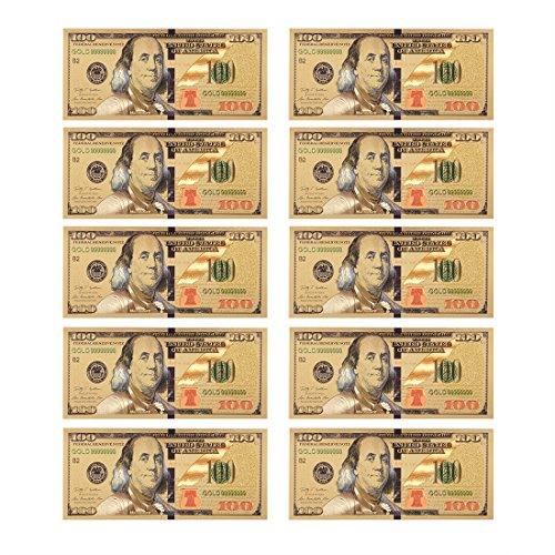 Lots 10pcs 1:1 $ 100 dollar Gold Foil USD Paper Money Banknotes Crafts - 24kt Coin Gold 7