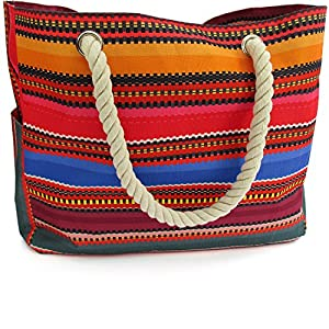 OdyseaCo – Beach Bag for Women, Large Canvas Tote Bag
