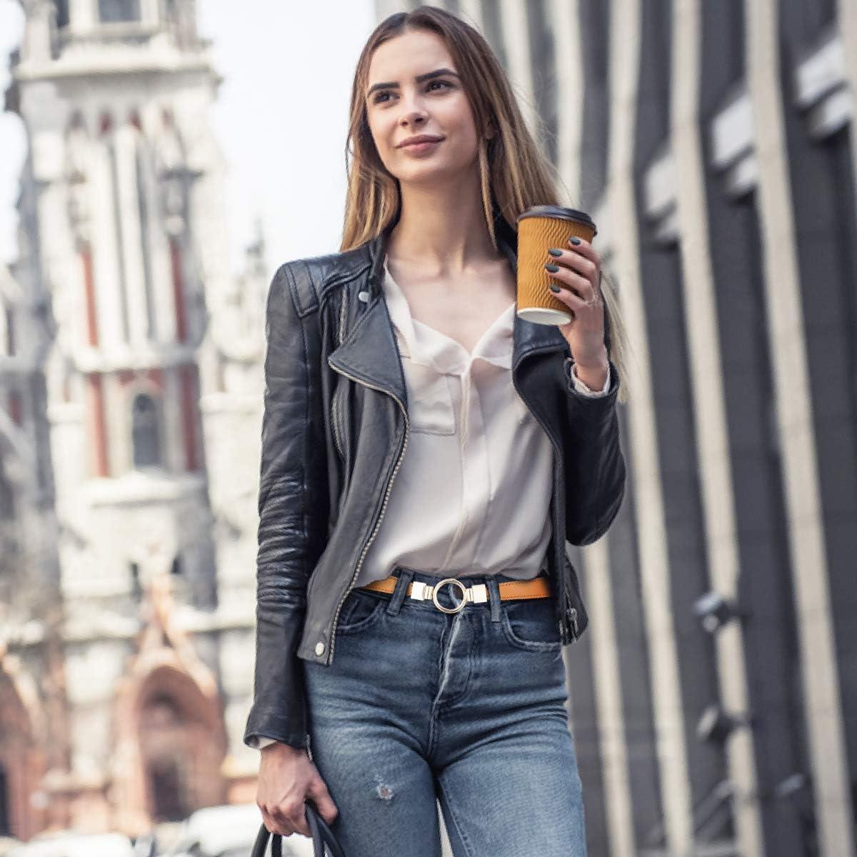 MELLIEX 2 Pezzi Donne Cintura Sottile in Vita Cintura Elastica con Fibbia Metallo per Abito Jeans
