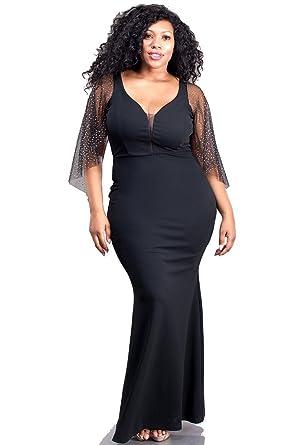 b6032130908 Nyteez Women s Plus Size Black Mermaid Gown With Glitter Sleeves - Black -