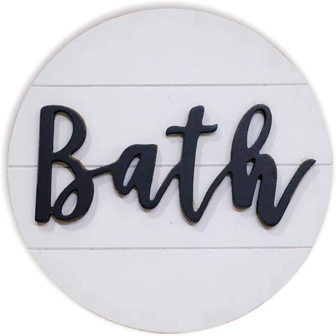 Lavender Inspired Rustic 3D Bath Sign for Bathroom-Round Wood Bathroom Signs Decor-Modern Farmhouse Bathroom Wall Hanging Sign-Round Shiplap Signs for Bathroom 10''