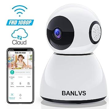 BANLVS 1080P Cámara IP WiFi, Cámara de Vigilancia WiFi Interior FHD con Visión Nocturna,