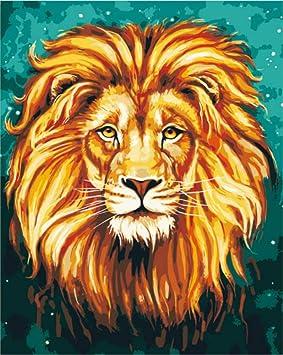 Animal Africa Lion King Cuadro De Pintura De Bricolaje Por Números