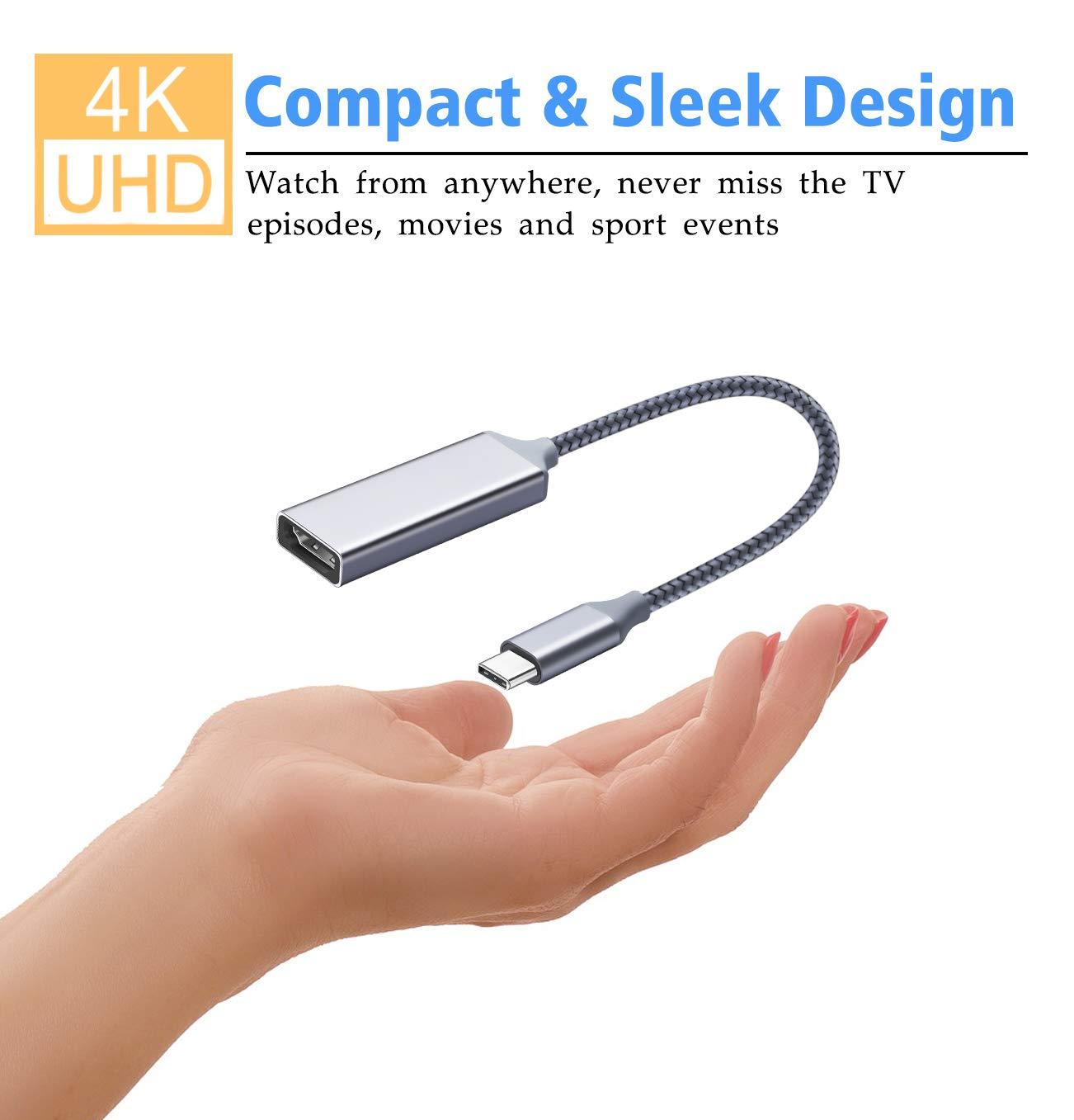 Highwings USB C to HDMI Adapter (4K@60Hz), Type C to HDMI Adapter,Thunderbolt 3 Compatible,Compatible Samsung Galaxy Note 9/S8/S9 Plus/Note8,Surfacebook 2, Pixelbook,2017 MacBook, 2017 iMac,Grey by Highwings (Image #3)