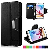 Galaxy S6 Case,Vakoo Samsung S6 Flip Cover Premium PU Leather Wallet Credit Card Holder Folio Stand Case for Samsung Galaxy S6 With a Wrist Strap – Black