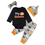 Baby Girl Boy Clothes My First Halloween Long Sleeve Romper,Little Cute Ghost Pants with Hat+Headband Outfit Set(0-3 Months)