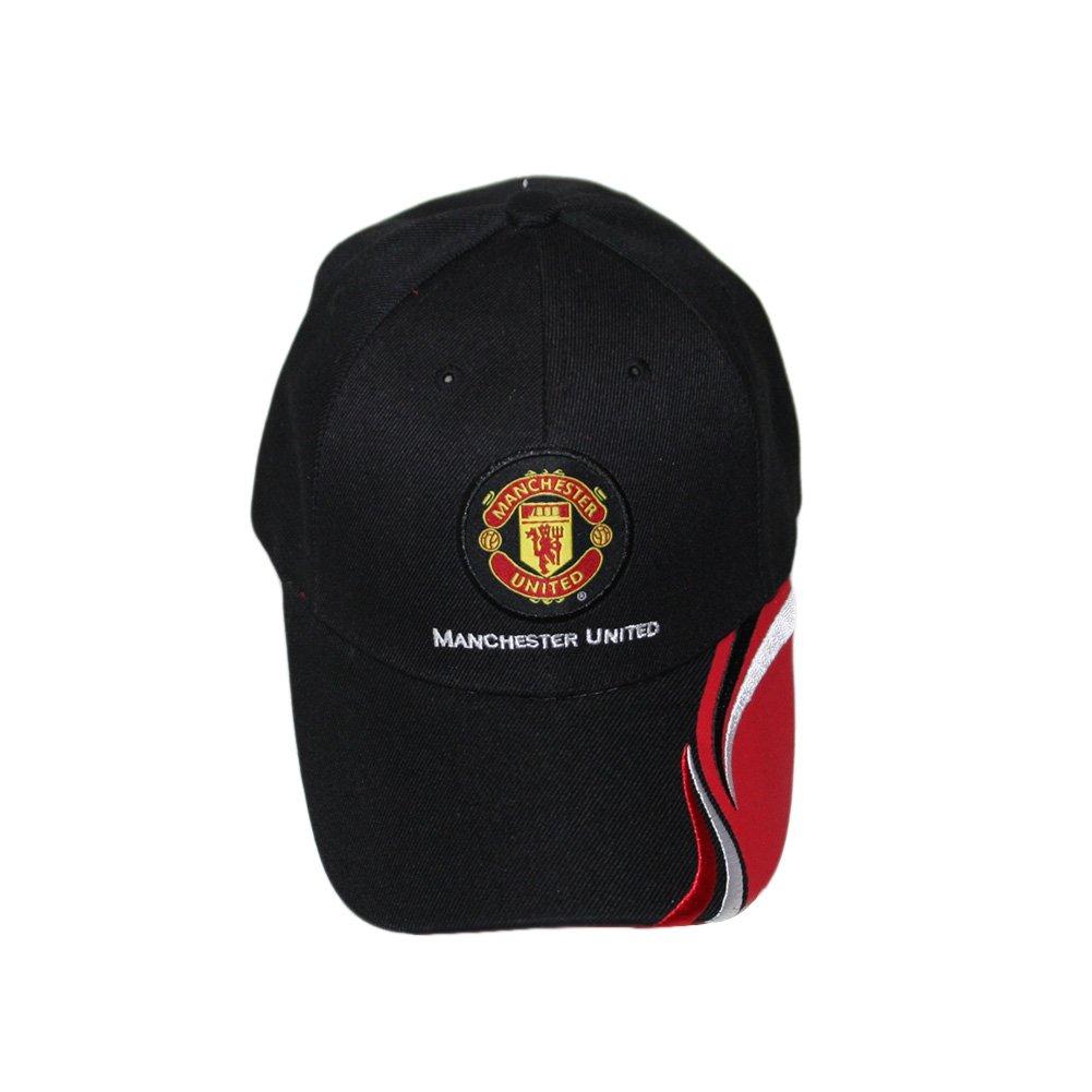 Manchester UnitedサッカーチームロゴグラフィックデザインFutbolキャップ B00EUMFA90 Manchester United Wave Black Manchester United Wave Black